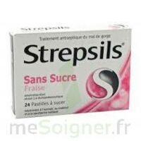 STREPSILS FRAISE SANS SUCRE, pastille édulcorée à l'isomalt, au maltitol et à la saccharine sodique à Saint -Vit